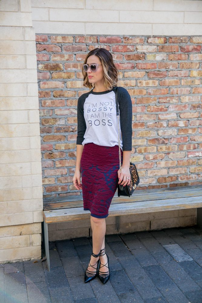 T-shirt and pencil skirt outfit
