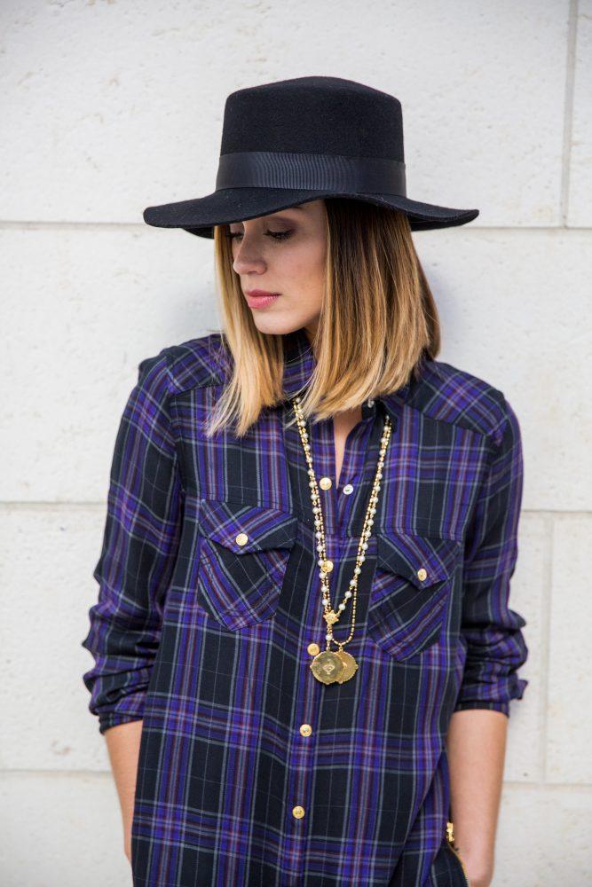 Plaid shirt outfit boho street look