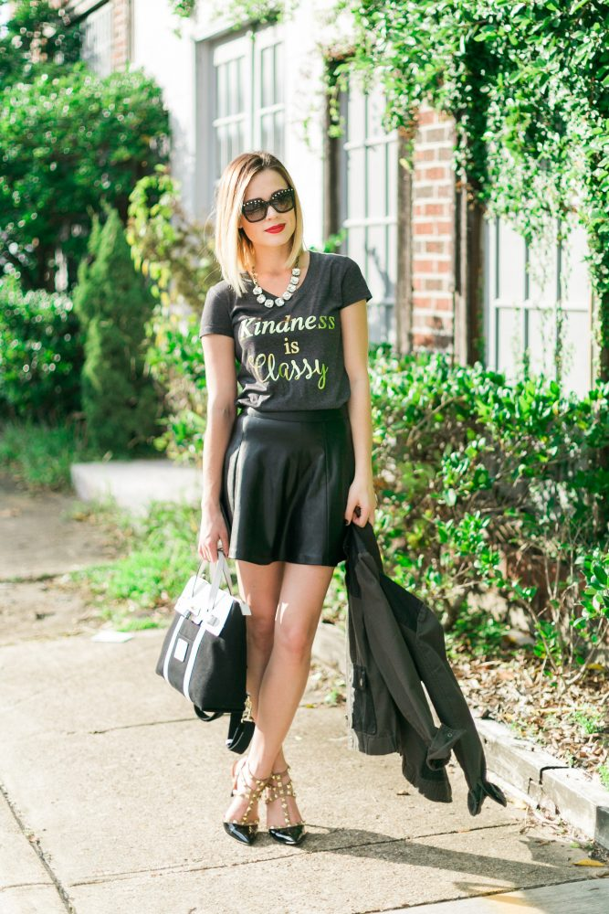 Leather skirt outfit kindness is classy