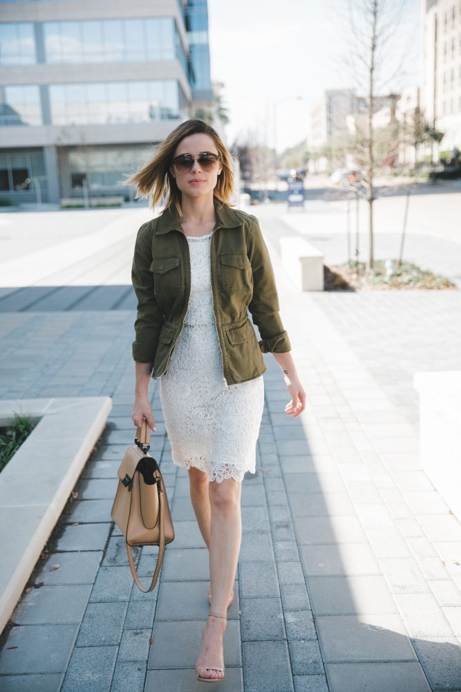 white lace dress and utility jacket