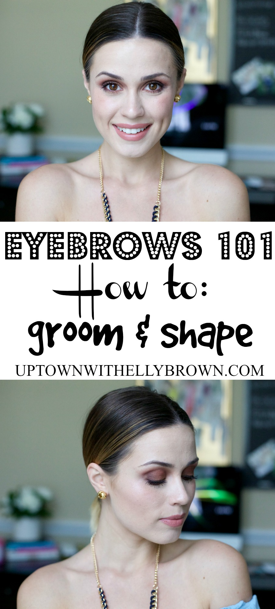 Houston Beauty Blogger Uptown With Elly Brown shares how she grooms and shapes her eyebrows in an easy to follow eyebrow tutorial video!