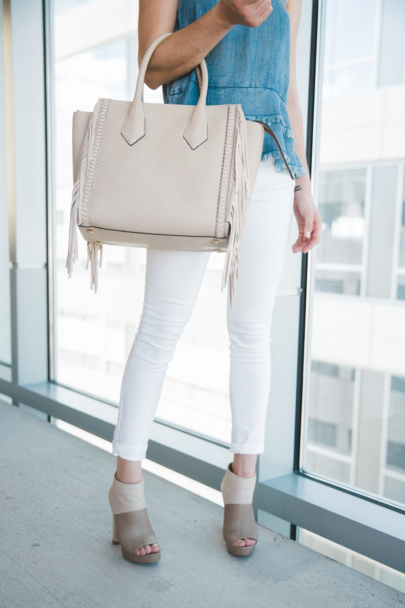 Houston Fashion blogger Uptown with Elly Brown wears white denim for a spring casual outfit