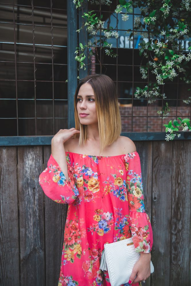 off the shoulder floral dress