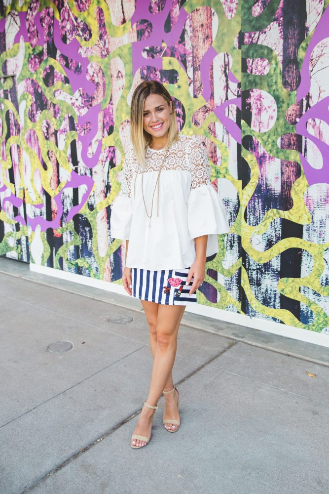 Chic wish Summer Look | Bell Sleeves top | Graphic Mini Skirt | Uptown with Elly Brown