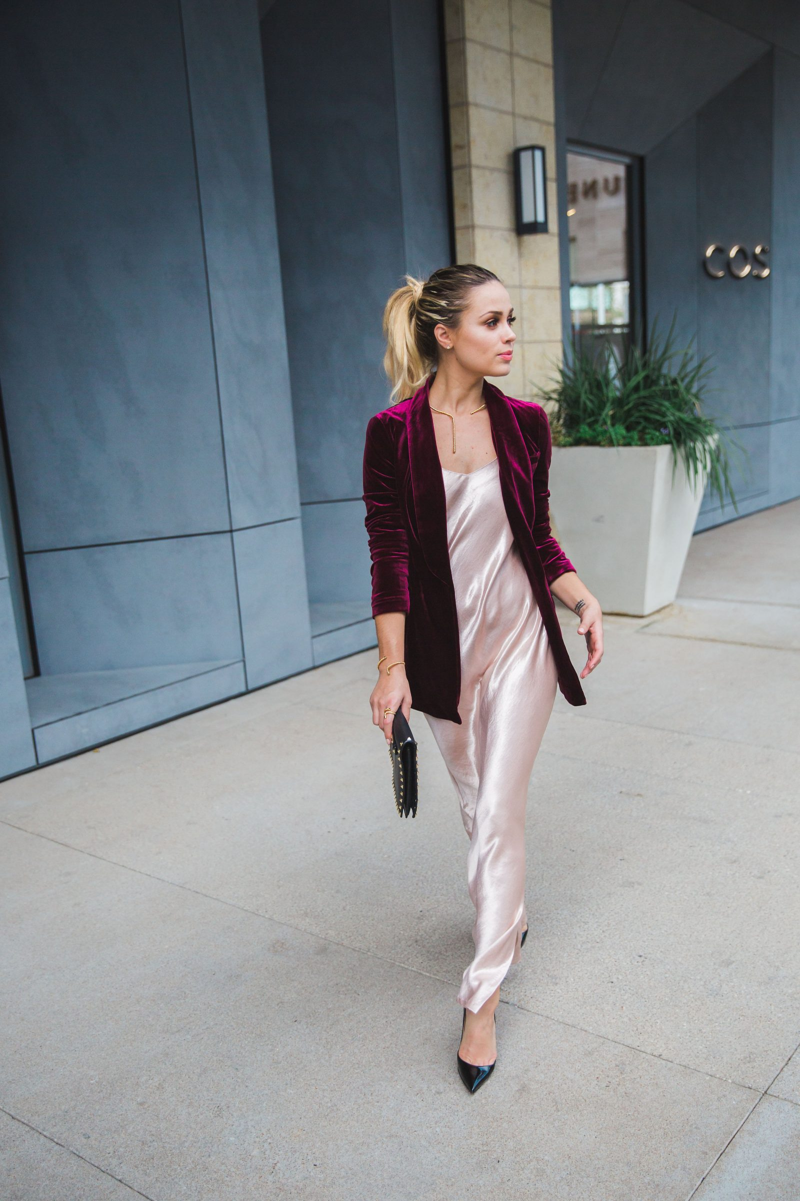 Looking for ideas on How To Wear A Blazer? Houston fashion blogger Uptown with Elly Brown wears her blazer with a slip dress