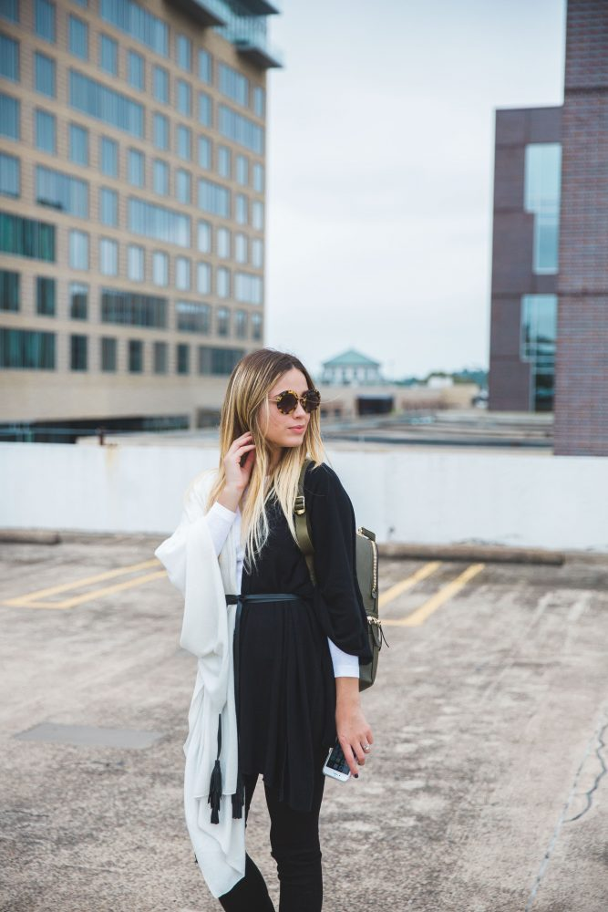 Layer outfit | Rachel Zoe cape | Black and white outfit | Casual outfit | Uptown with Elly Brown