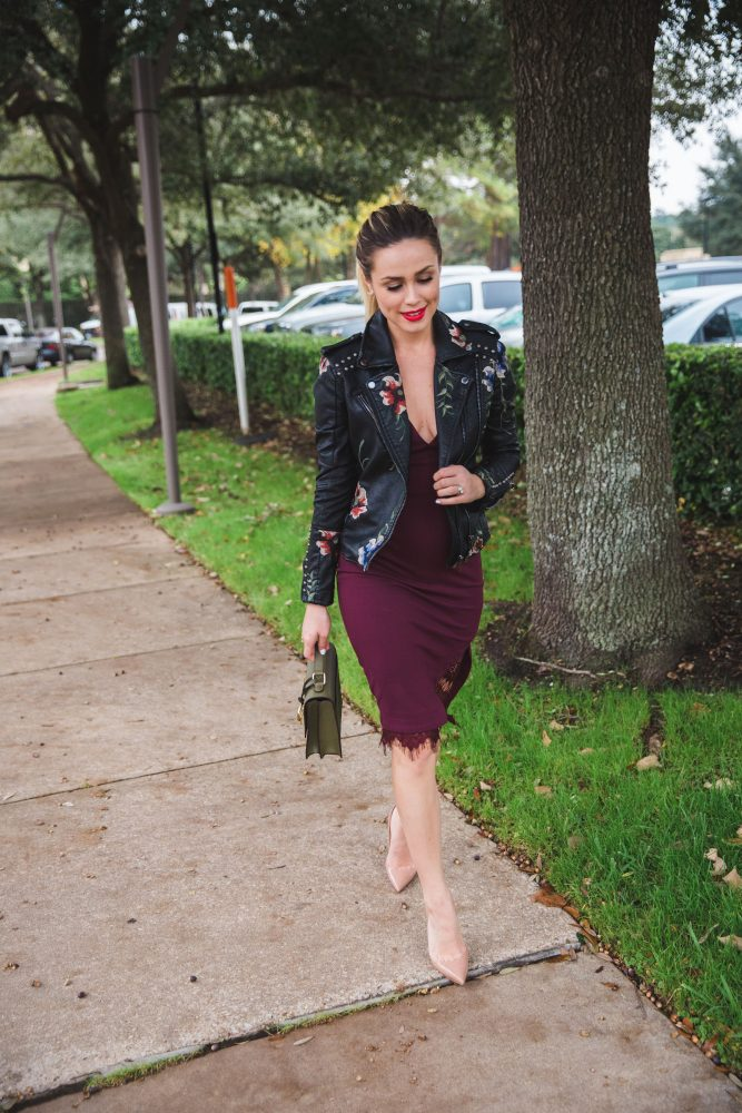 Holiday Dress Idea | Holiday outfits | What to wear for the Holidays | Holiday dress under $100 | Uptown with Elly Brown - Burgundy Holiday Dress under $100 by Houston fashion blogger Uptown with Elly Brown