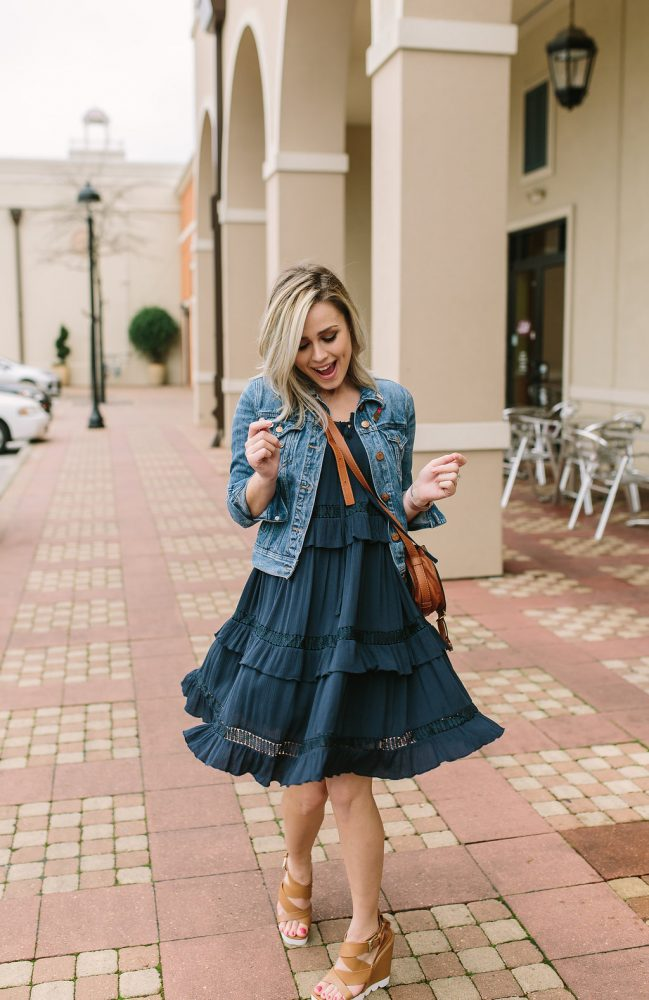 Spring Outfit | All Blue outfit | Spring Dress | Denim Jacket outfit | Maternity outfit | Uptown with Elly Brown