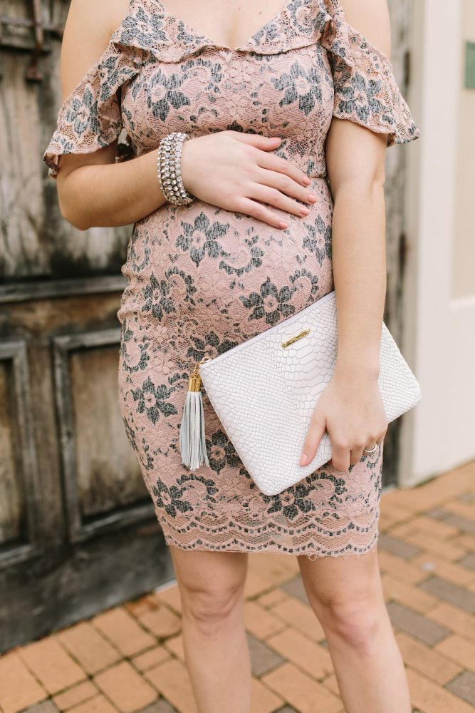 Cold shoulder dress | Maternity Outfit | Lace Dress | Valentine's Day outfit | Uptown with Elly Brown