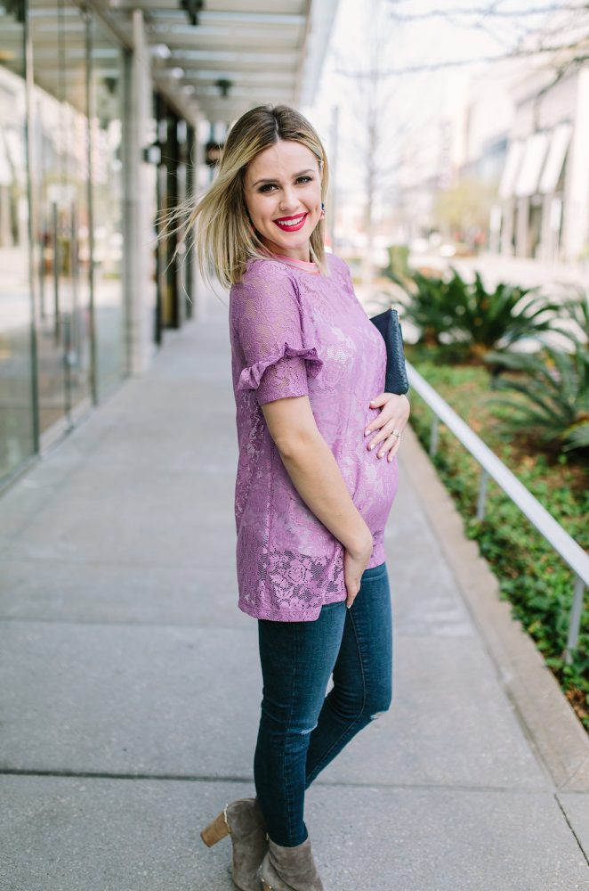 Lace top | Maternity Outfit | Casual Maternity Look | ASOS Maternity | Uptown with Elly Brown