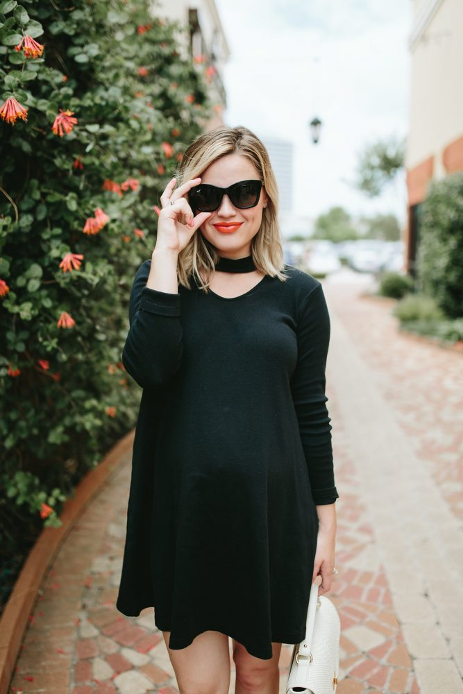 Little black dress outfit | Maui Jim Sunglasses | LBD look | Maternity fashion | Maternity outfits | Uptown with Elly Brown