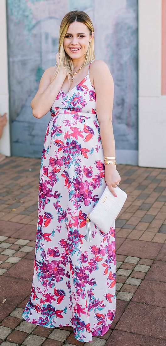 Devlin Dress | Spring Florals | Spring Outfit | Maxi Dress outfit | Maternity fashion | Uptown with Elly Brown