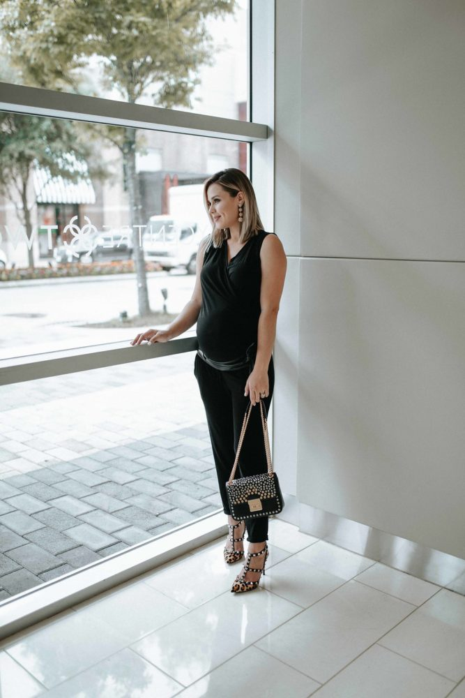 Black Jumpsuit | Maternity Fashion | Maternity outfits | Uptown with Elly Brown
