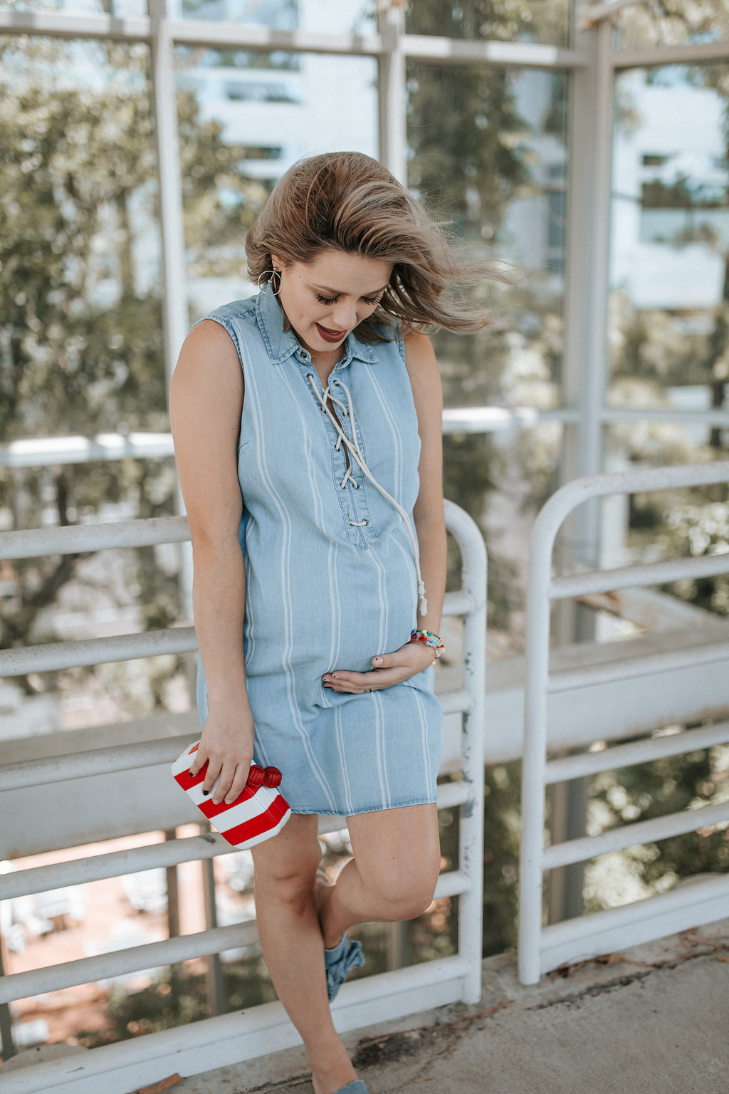e02767fe111ea ... Houston fashion blogger Uptown with Elly Brown. Cute Patriotic Outfit |  Chambray Dress | Maternity style | Red, white, and blue