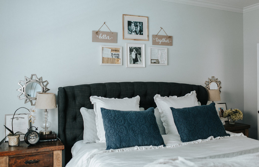 Houston lifestyle blogger Uptown with Elly Brown shares her modern master bedroom
