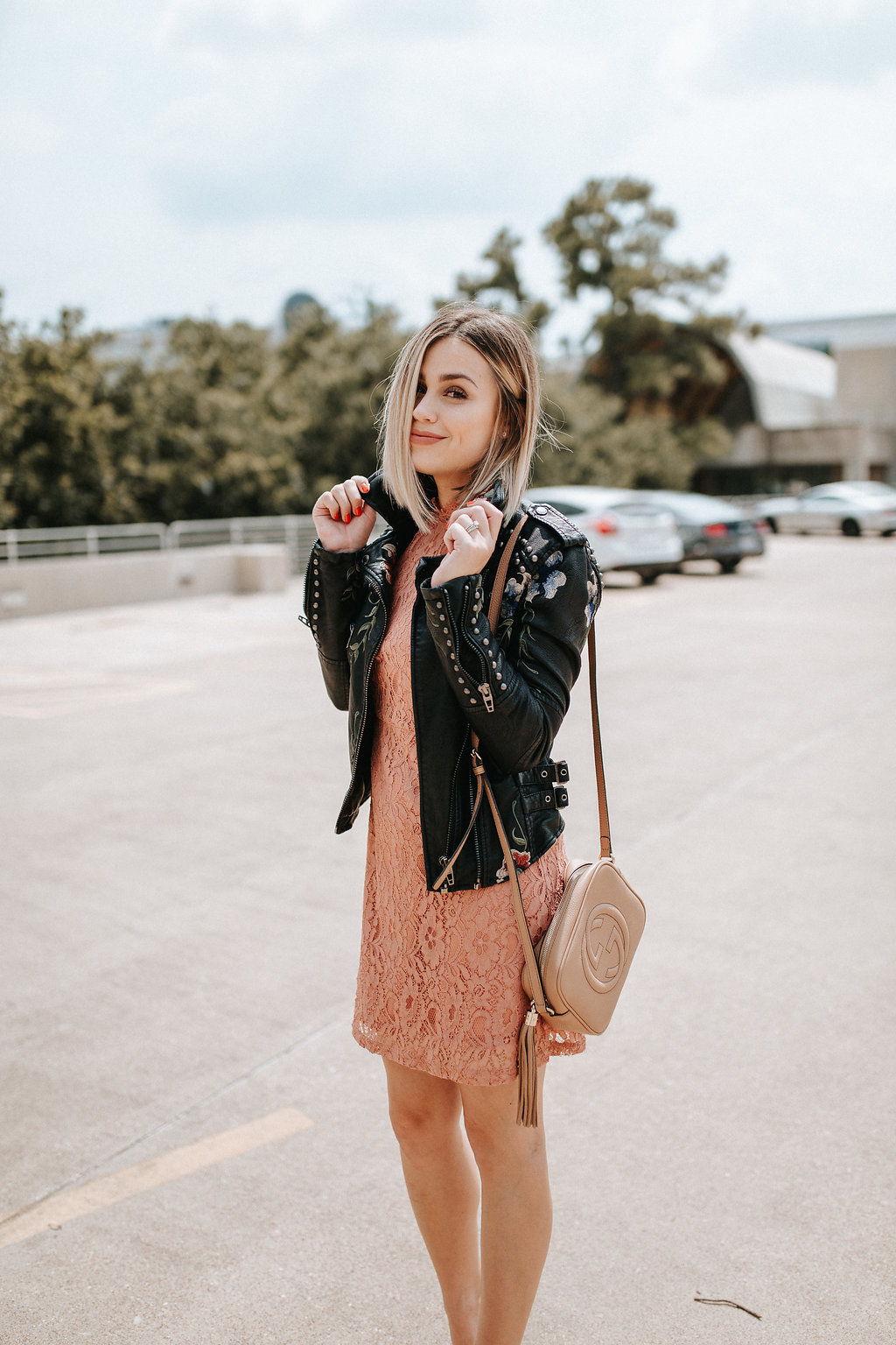 Who What Wear Lace dress | BlankNYC leather jacket | Fall outfit | Uptown with Elly Brown