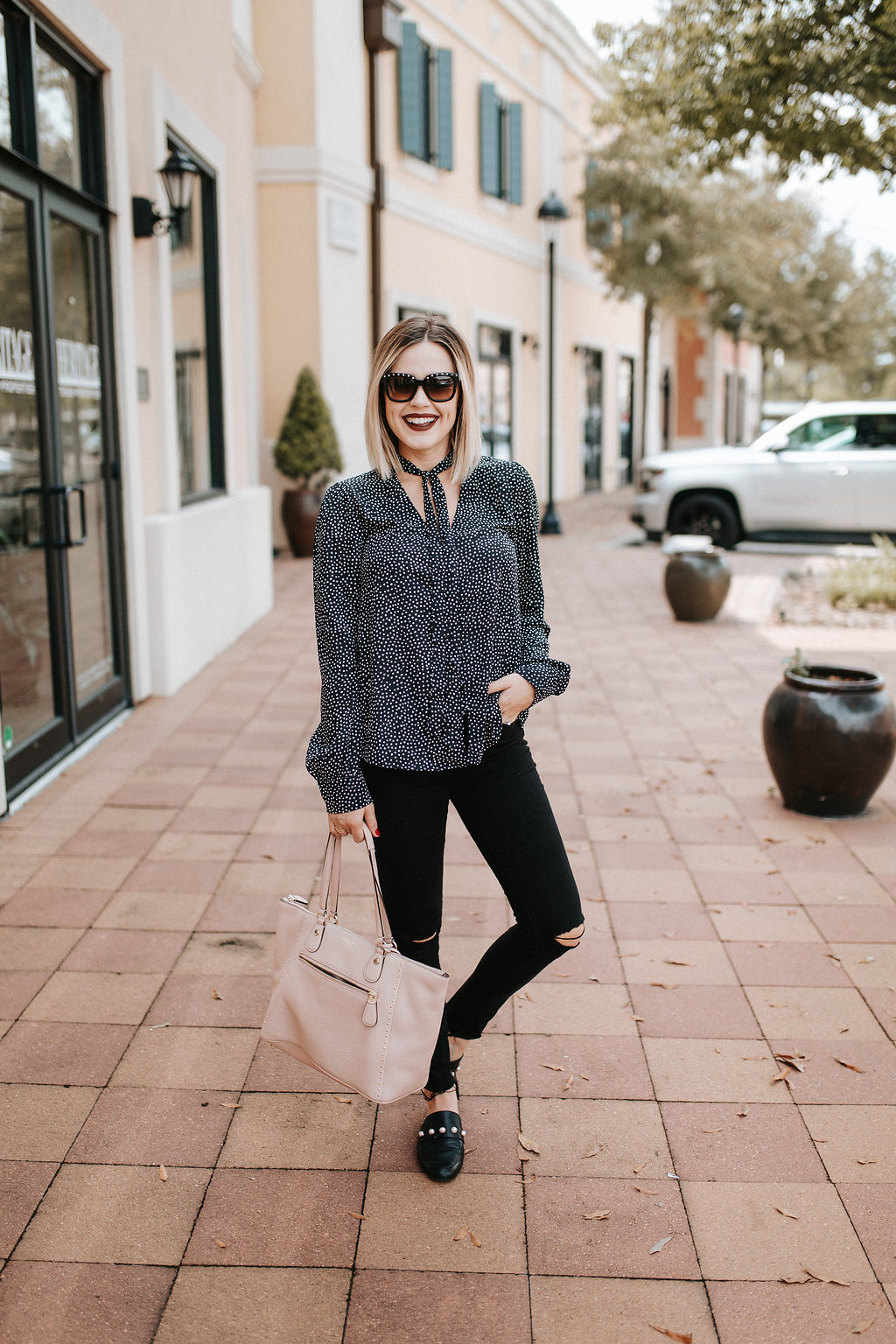 Lulu's Polka dot shirt | Fall outfit | Uptown with Elly Brown - Polka Dot Shirt and Why I Started Blogging by Houston fashion blogger Uptown with Elly Brown