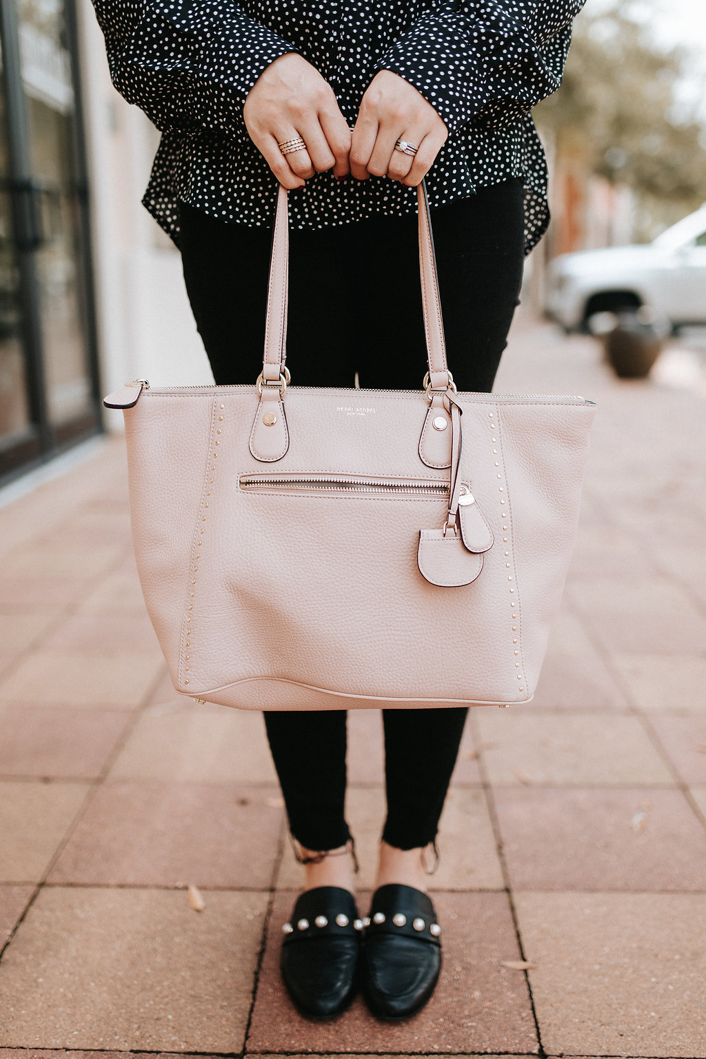 Lulu's Polka dot shirt | Fall outfit | Henri Bendel Bag | Uptown with Elly Brown