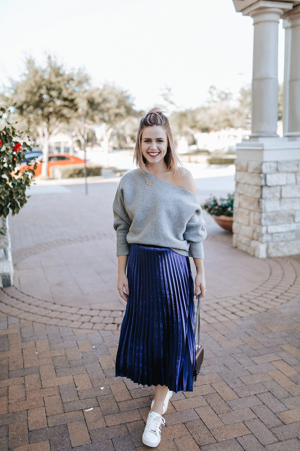 How to style a pleated midi skirt | Casual midi skirt look | Sweater and skirt outfit | Sneakers and skirt outfit | Uptown with Elly Brown