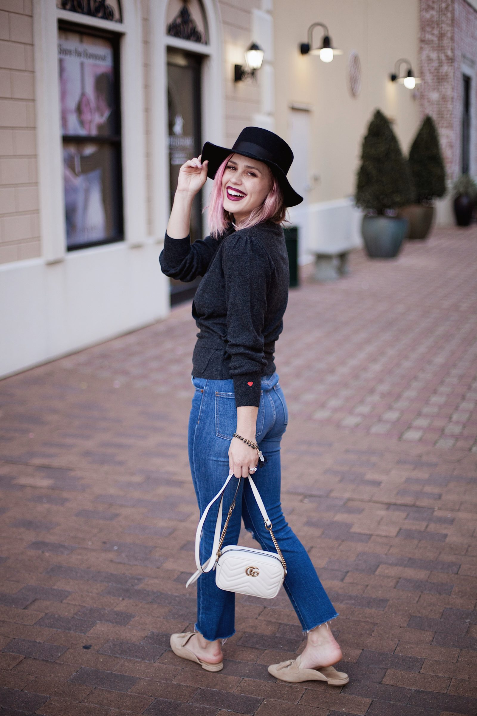 Drew Barrymore Wrap Sweater | Fall outfit | cropped denim outfit | Uptown with Elly Brown