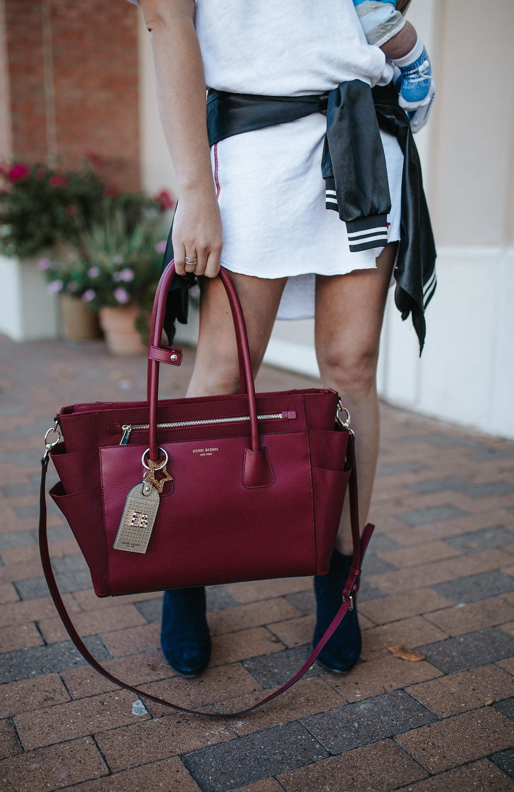 T-shirt dress outfit | Ankle booties | Bomber Jacket | Casual mom style | Henri Bendel Diaper Bag | Uptown with Elly Brown