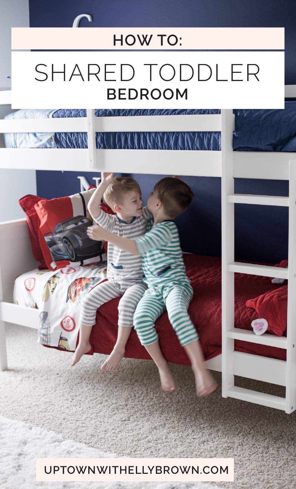 Shared toddler room ideas | shared boy room ideas | shared room decor ideas | toddler boy room | Uptown with Elly Brown