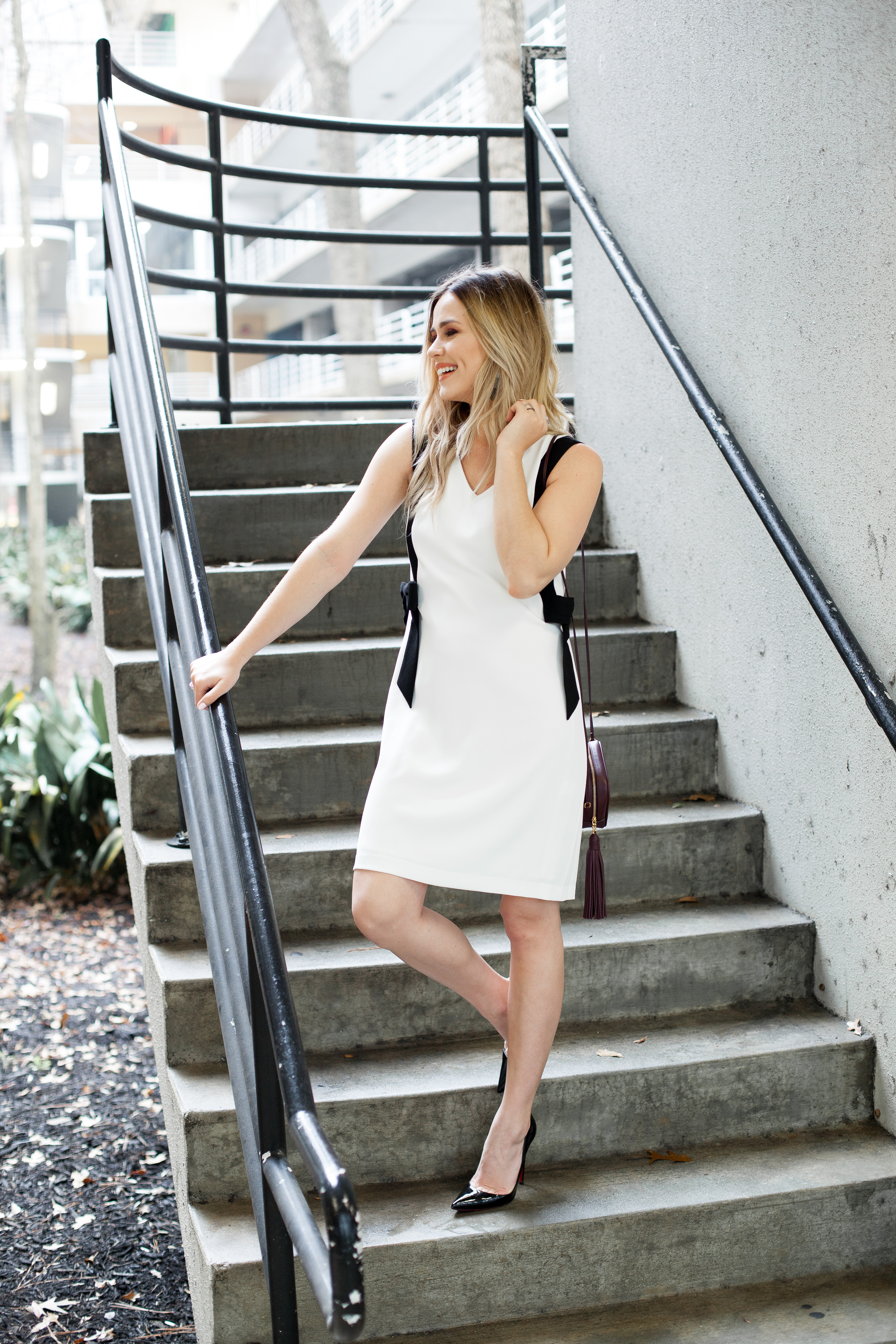 Shift dress   Feminine bow dress   Christian Louboutins   YSL crossbody bag   Date night outfit   Uptown with Elly Brown