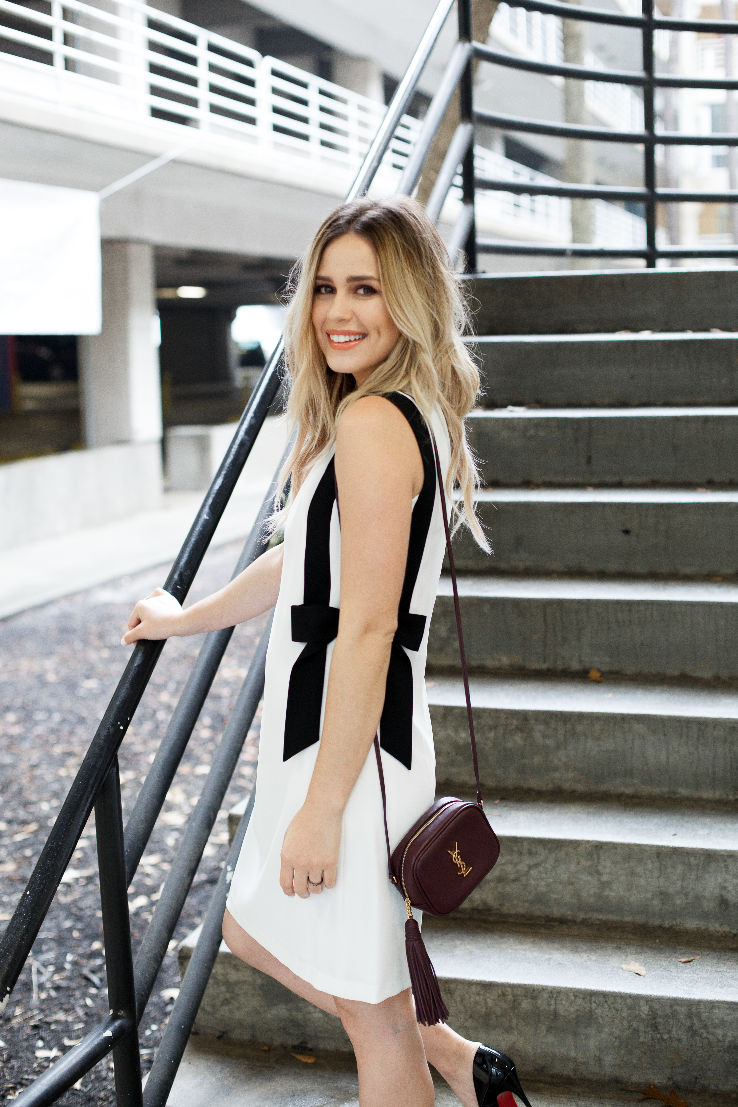 Shift dress | Feminine bow dress | Christian Louboutins | YSL crossbody bag | Date night outfit | Uptown with Elly Brown