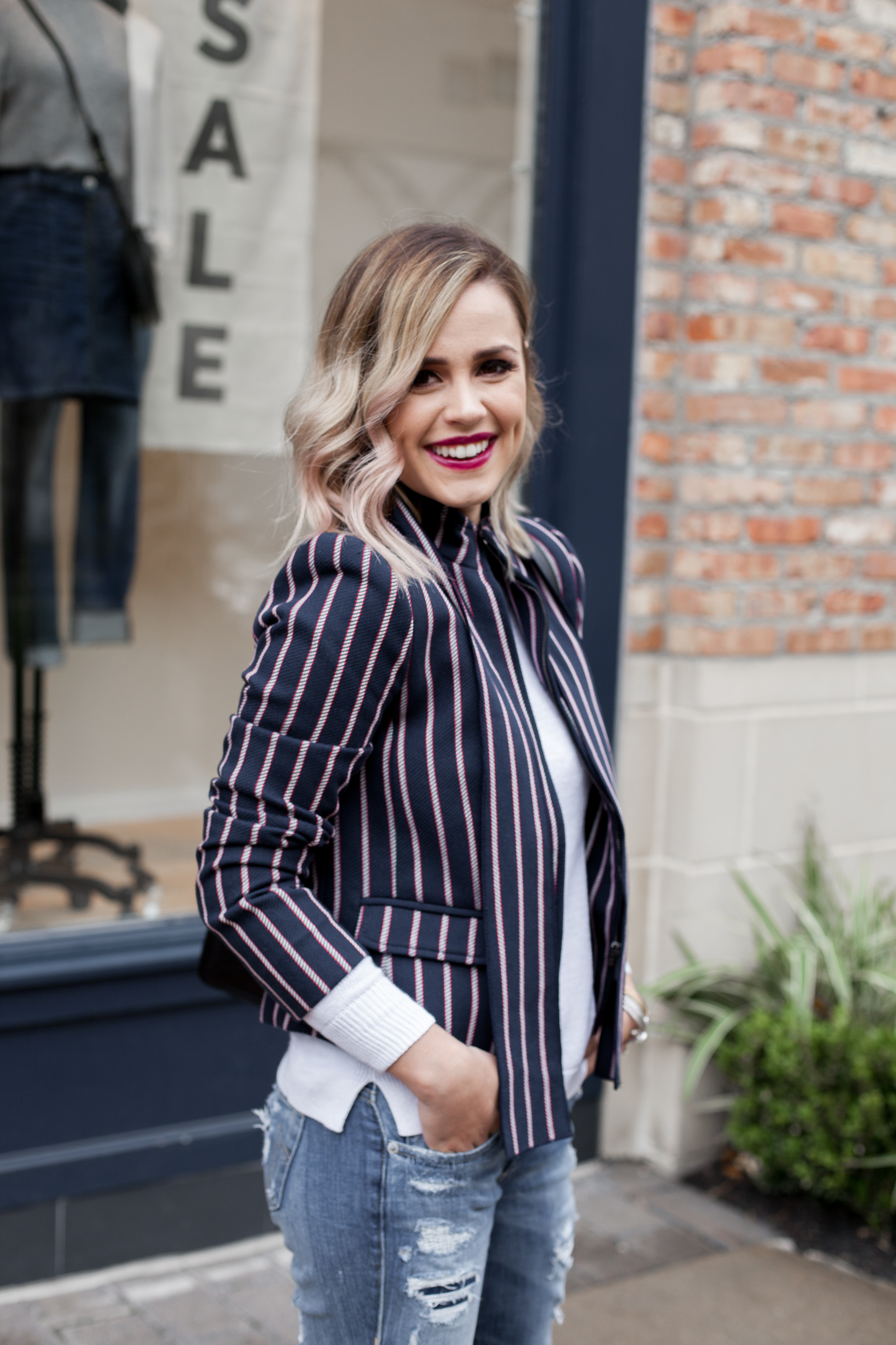 How to dress down your blazer | distressed denim | blazer outfit | Uptown with Elly Brown