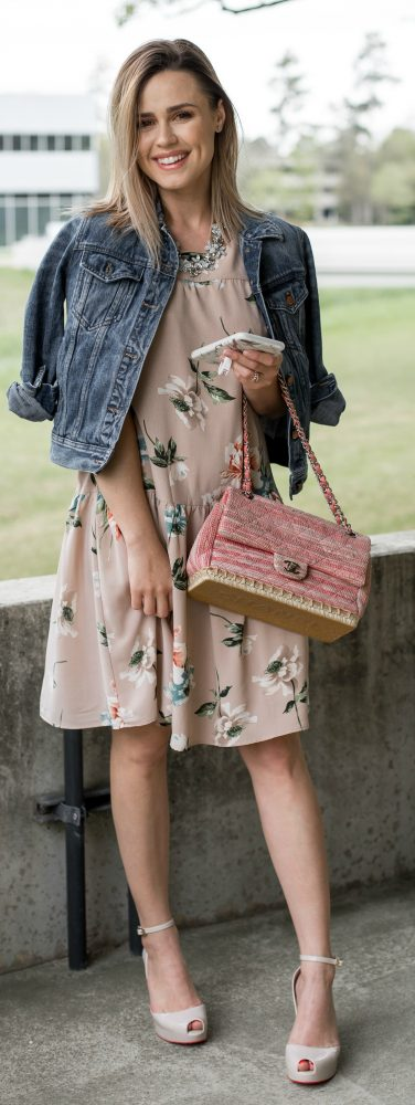 Floral dress \ spring trends \ denim jacket for Spring \ Uptown with Elly Brown