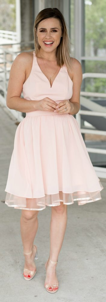 pastel pink dress \ wedding dress ideas \ spring dresses \ spring outfit \ clear sandals \ Uptown with Elly Brown