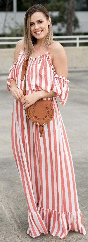Maxi dress \ striped dress \ spring dresses \ spring outfit \ Uptown with Elly Brown