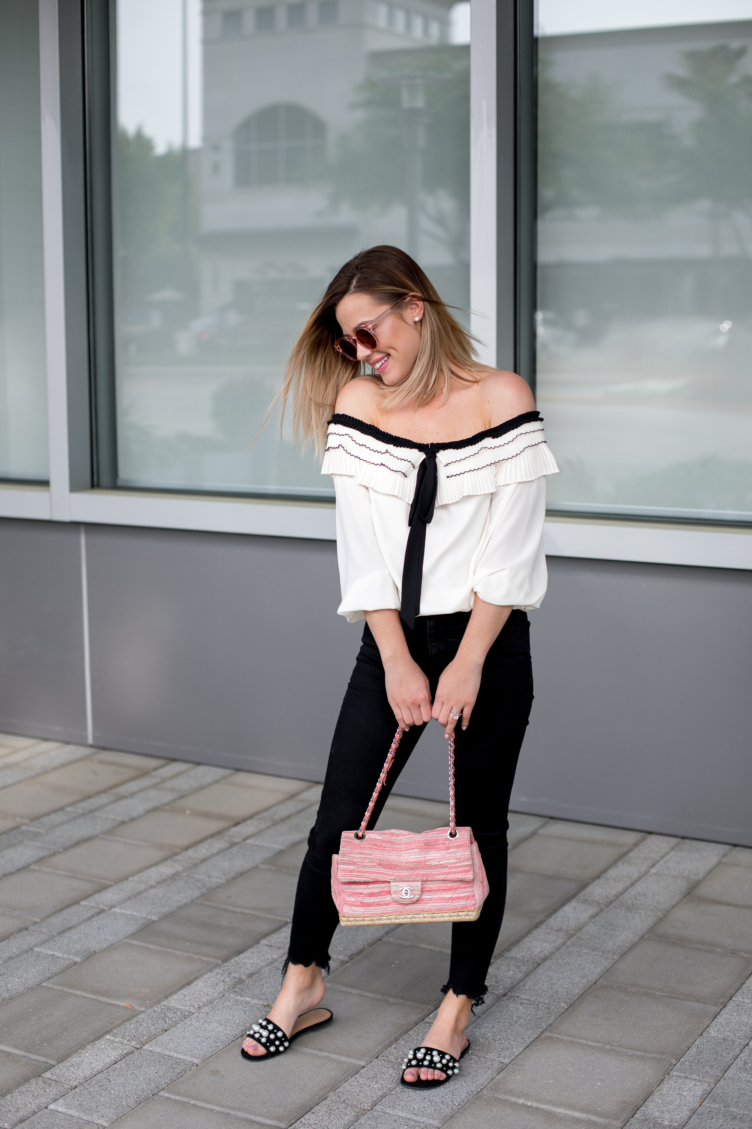 High Waisted Jeans \ ruffle off the shoulder top \ pearl slide sandals \ casual spring outfit \ chic outfit \ Uptown with Elly Brown