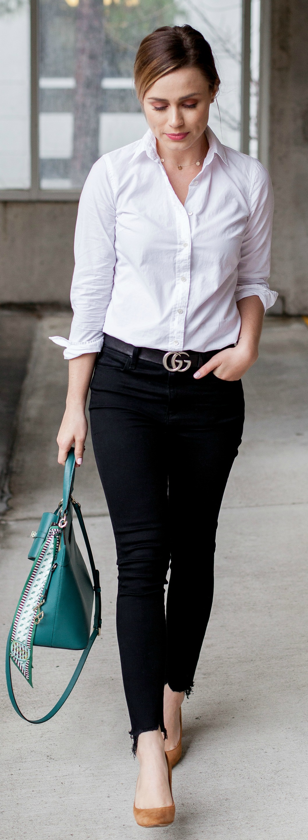 white button up outfit \ high waisted black skinny jeans \ henri bendel bag \ closet staples \ high and low fashion \ Uptown with Elly Brown