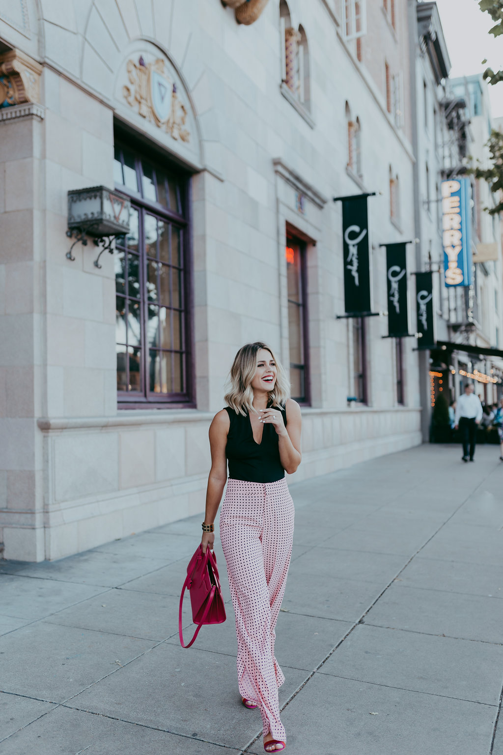pink polka dot pants / zara bodysuit / YSL Sac de Jour Small Handbag / chic work outfit / Uptown with Elly Brown