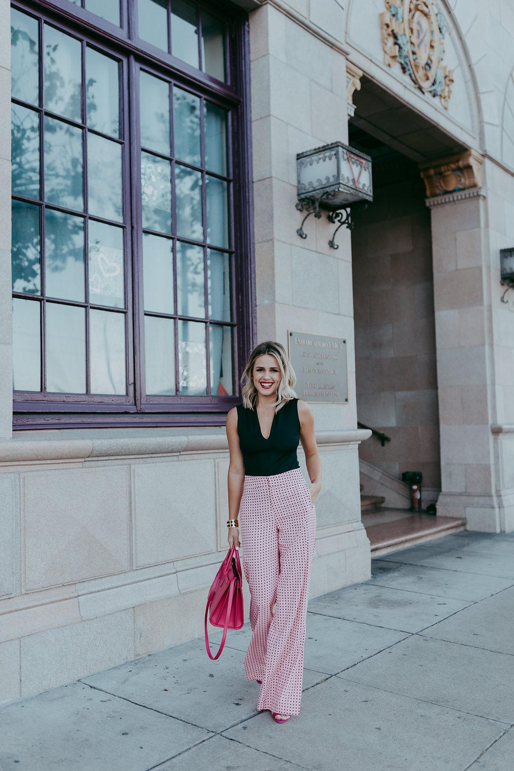pink polka dot pants / zara bodysuit / YSL Sac de Jour Small Handbag / chic work outfit / Uptown with Elly Brown