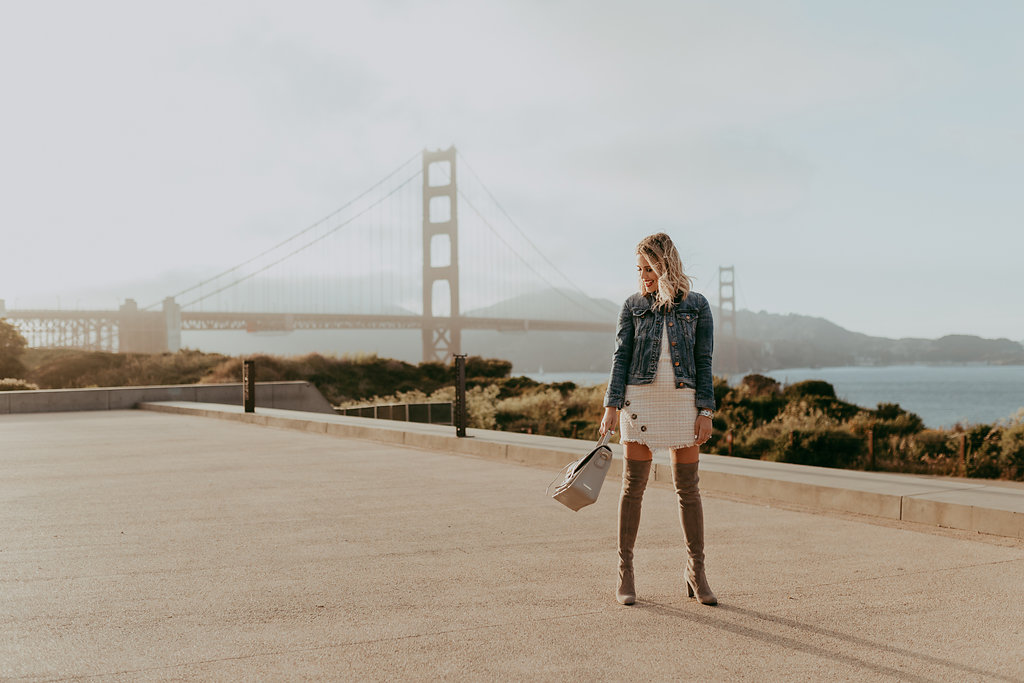 Houston fashion blogger Elly Brown wears Stuart Weitzman over the knee boots and a Zara tweed dress