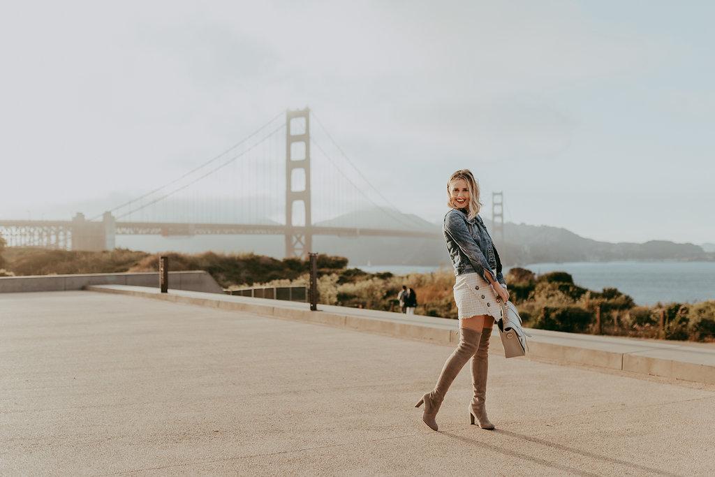Houston fashion blogger Elly Brown wears a J.Crew denim jacket and Gigi New York Bag