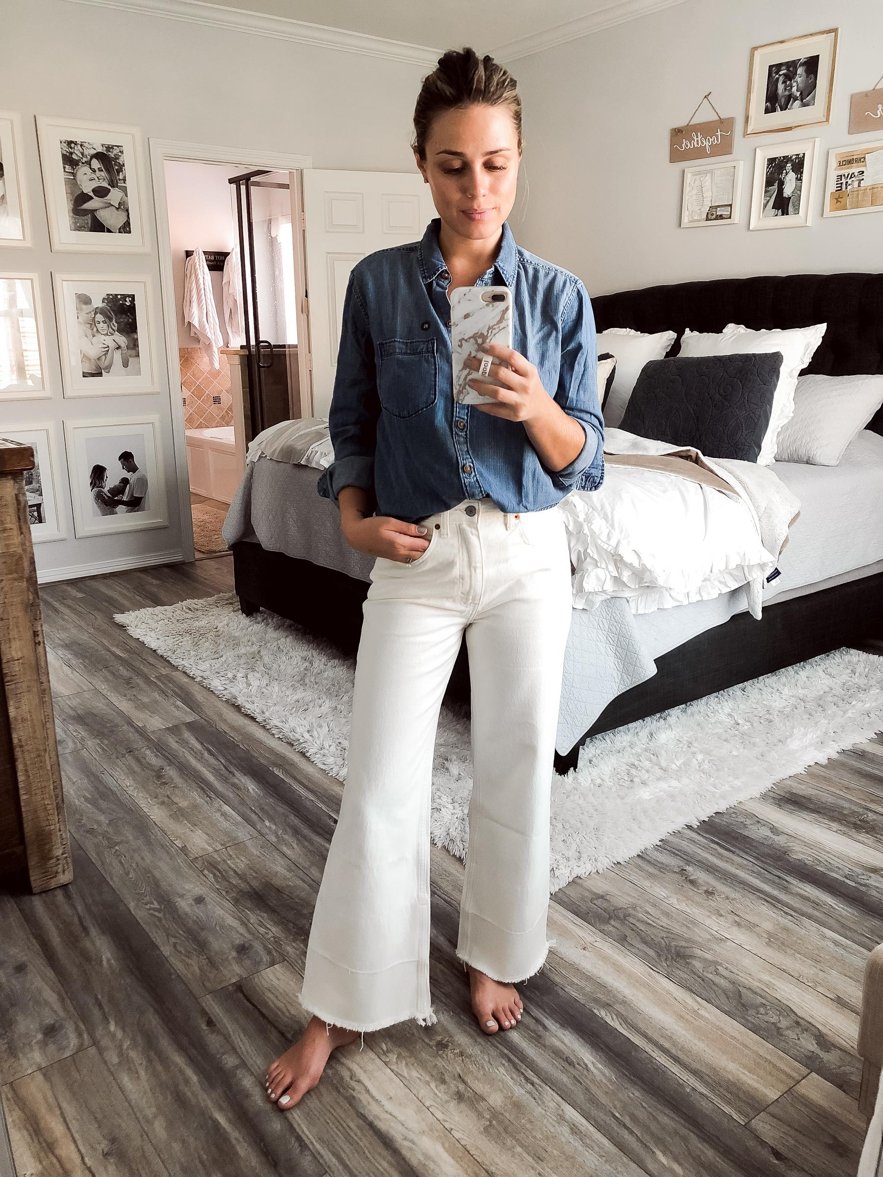 Houston fashion blogger Uptown with Elly Brown wears denim on denim