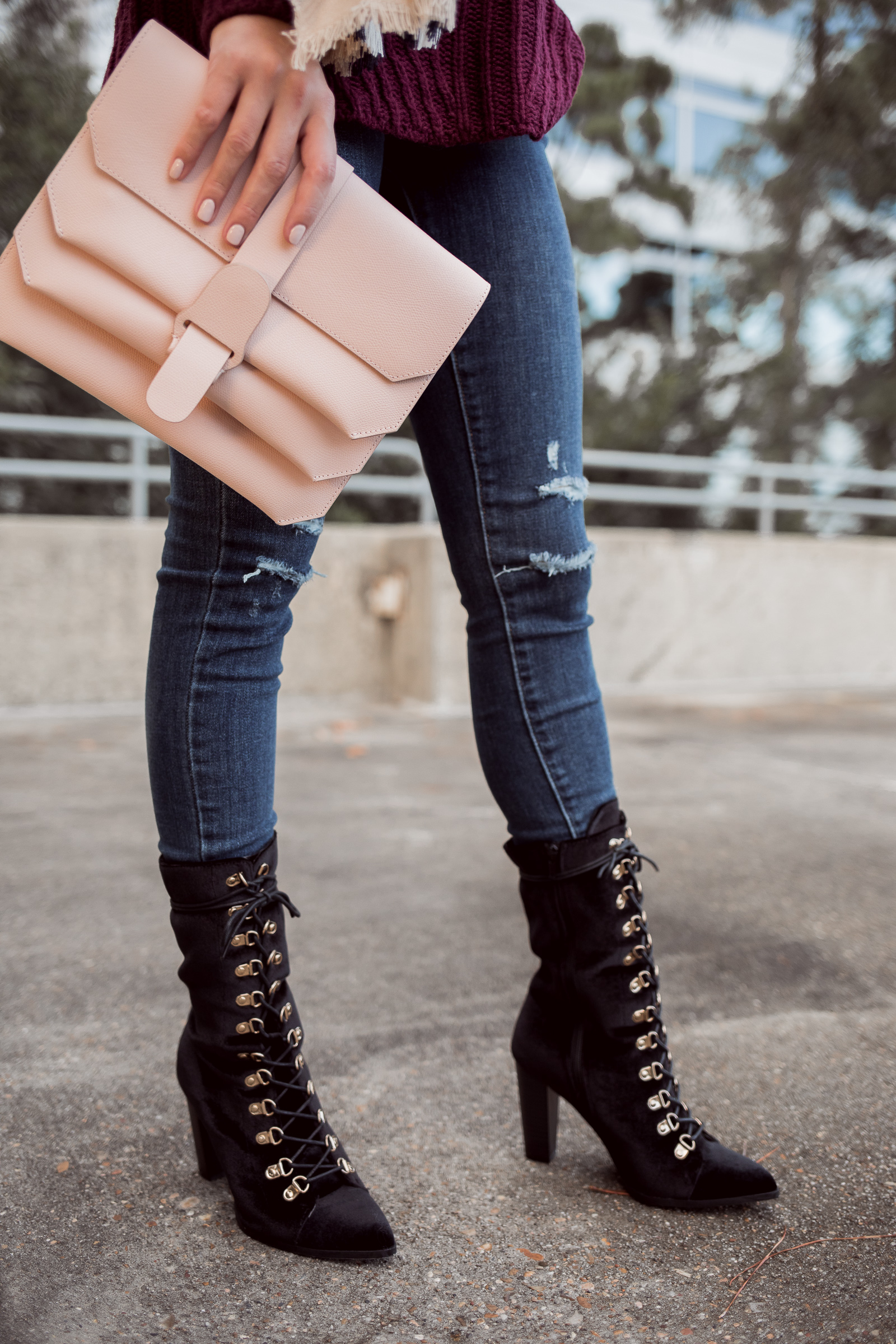 Houston Fashion blogger Uptown with Elly Brown wears a lace up mid-calf boot for fall