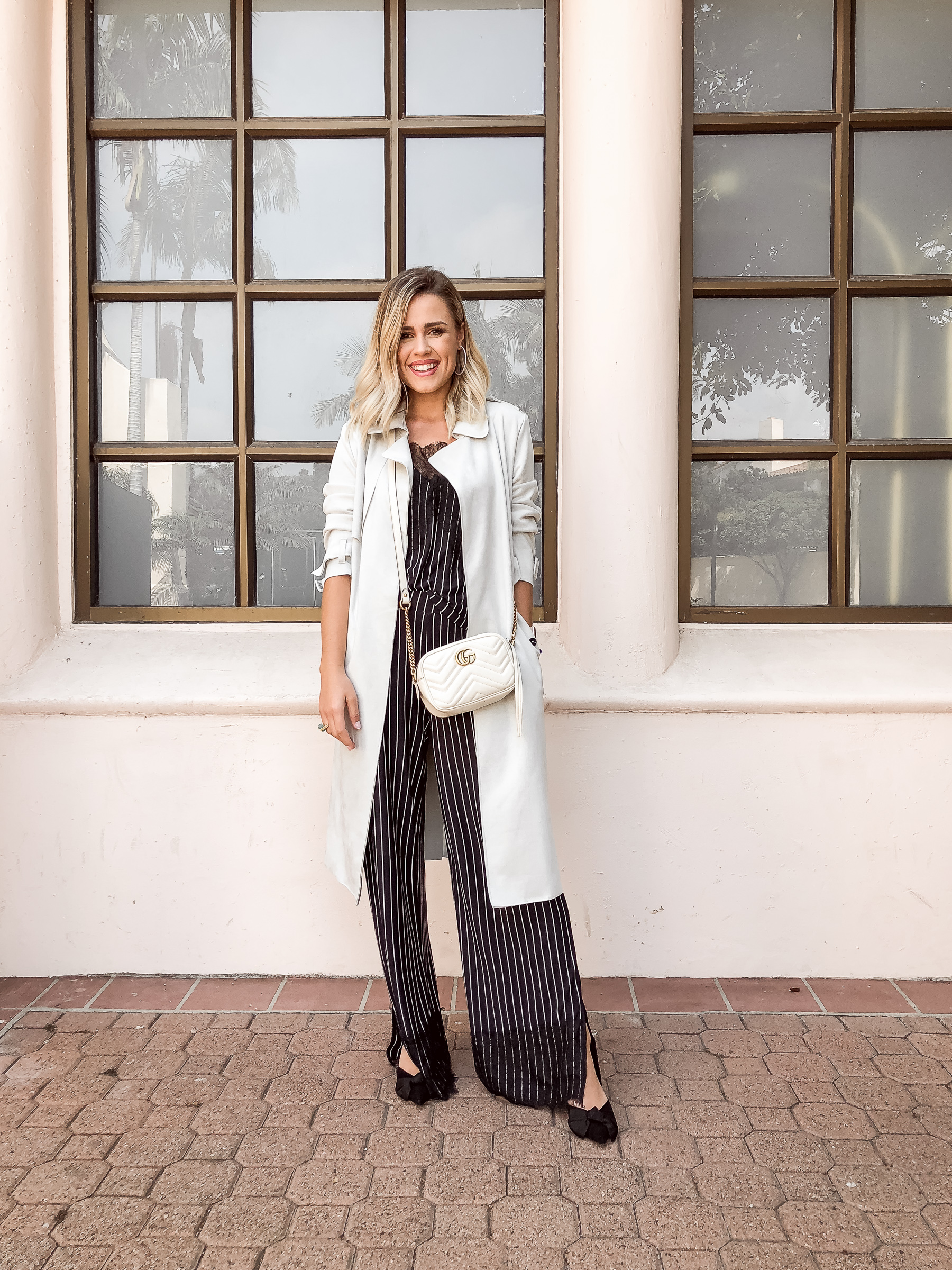 Houston fashion blogger Uptown with Elly Brown wears a matching stripe set form Zara