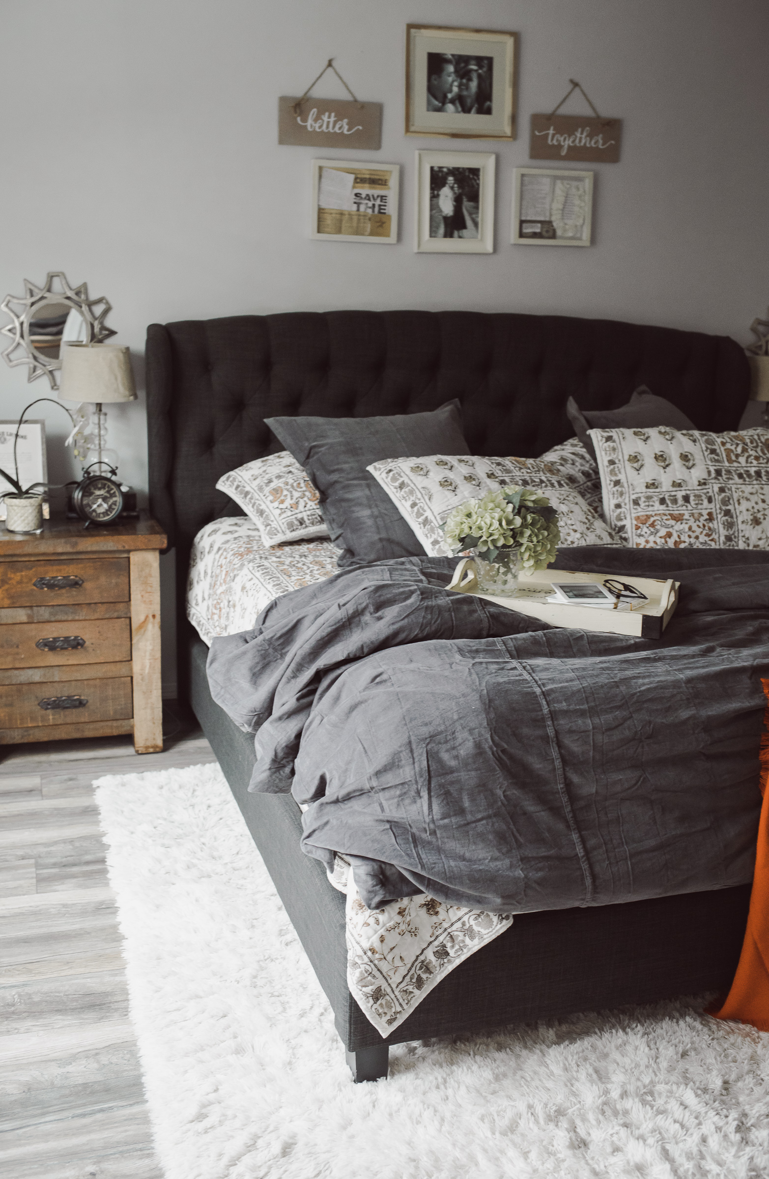Houston lifestyle blogger Uptown with Elly Brown shares her master bedroom decor for fall