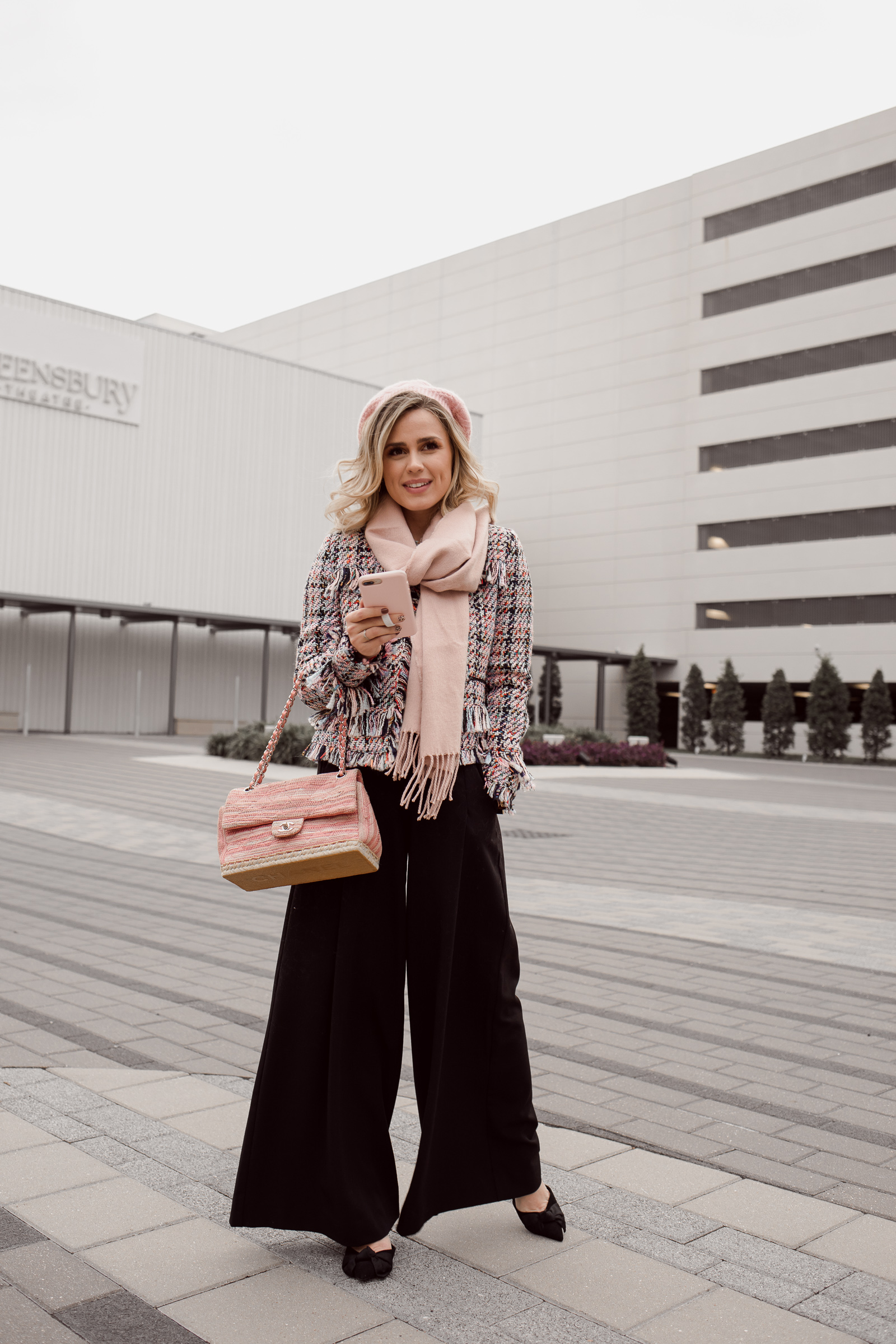 Houston beauty blogger Uptown with Elly Brown wears a wide leg trouser with a tweed jacket