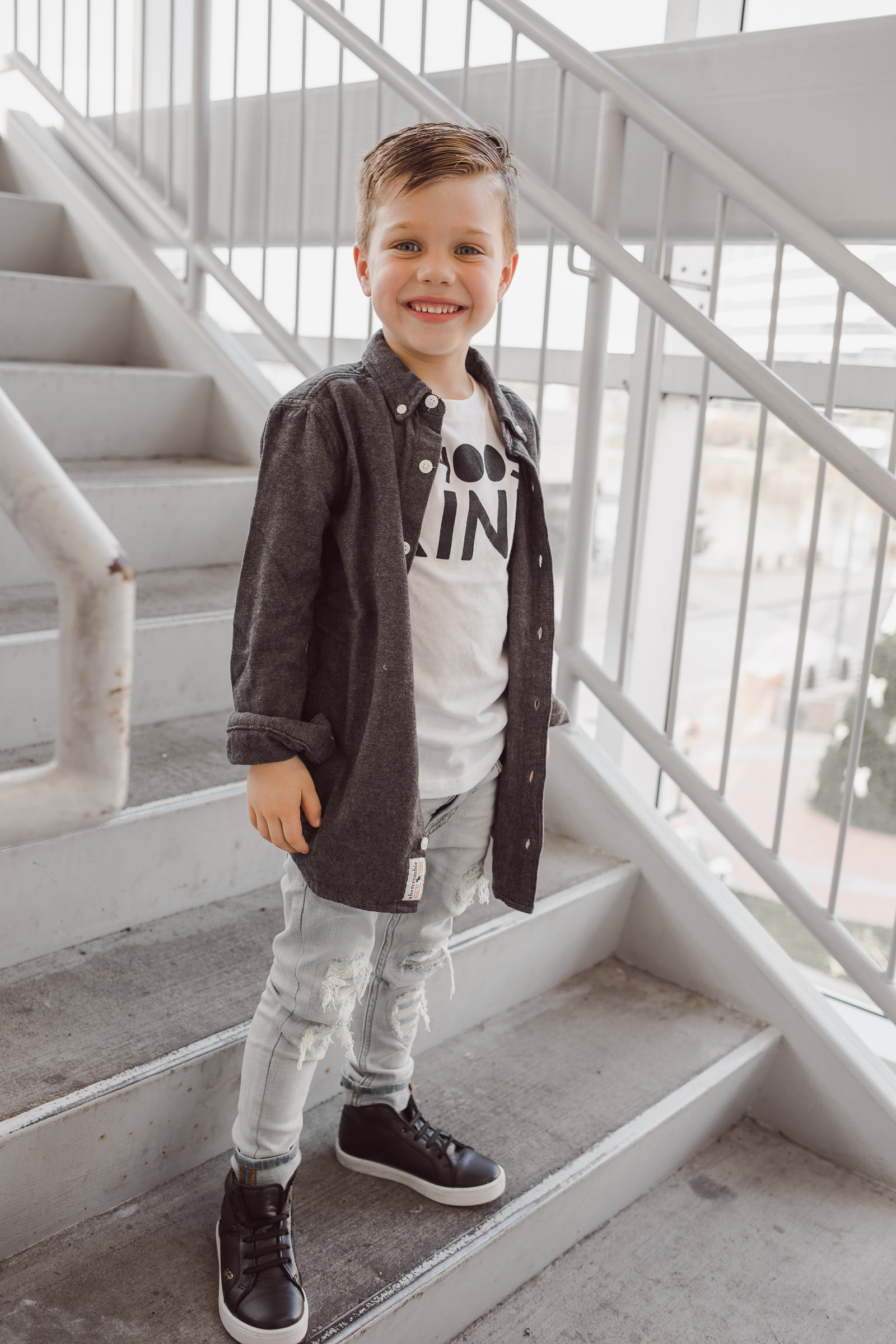 Houston lifestyle blogger Uptown with Elly Brown son wears choose kind t-shirt from Abercrombie Kids