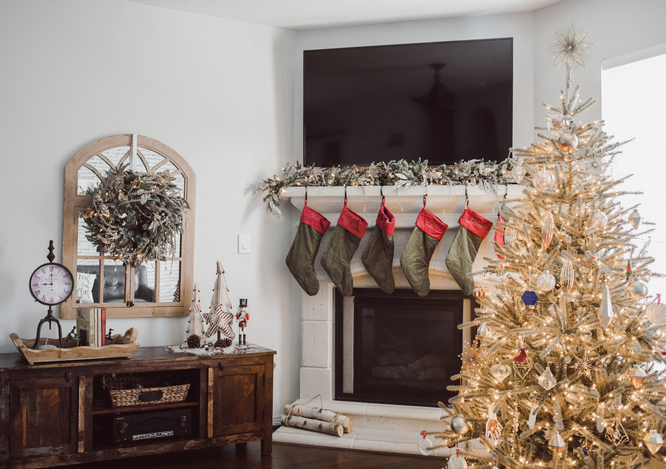 Houston lifestyle blogger Uptown with Elly Brown shares Christmas Decorations in her living room