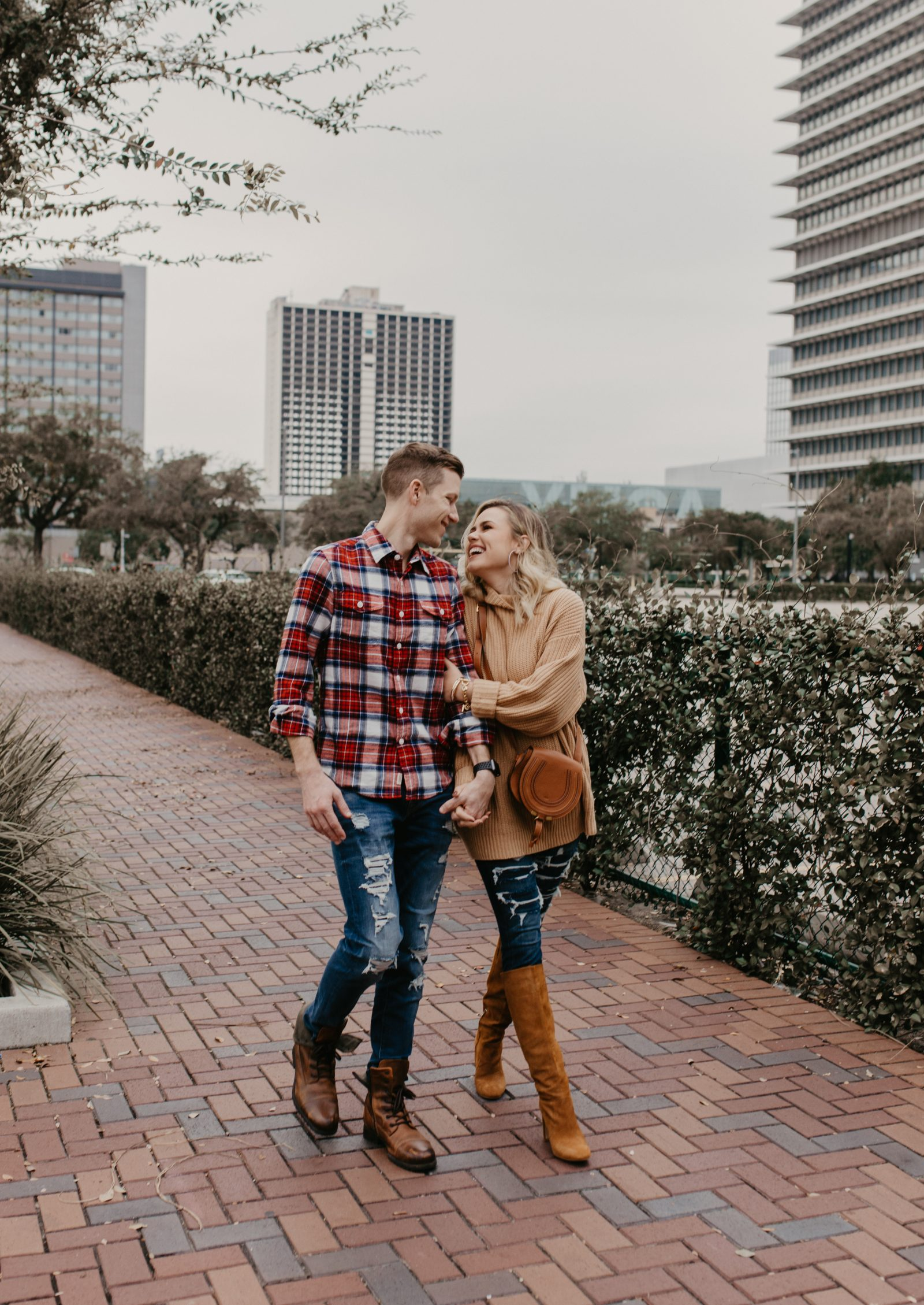 Houston Fashion blogger Uptown with Elly Brown shares 5 Fall Date Night Ideas along with a his and hers fall look from American Eagle.