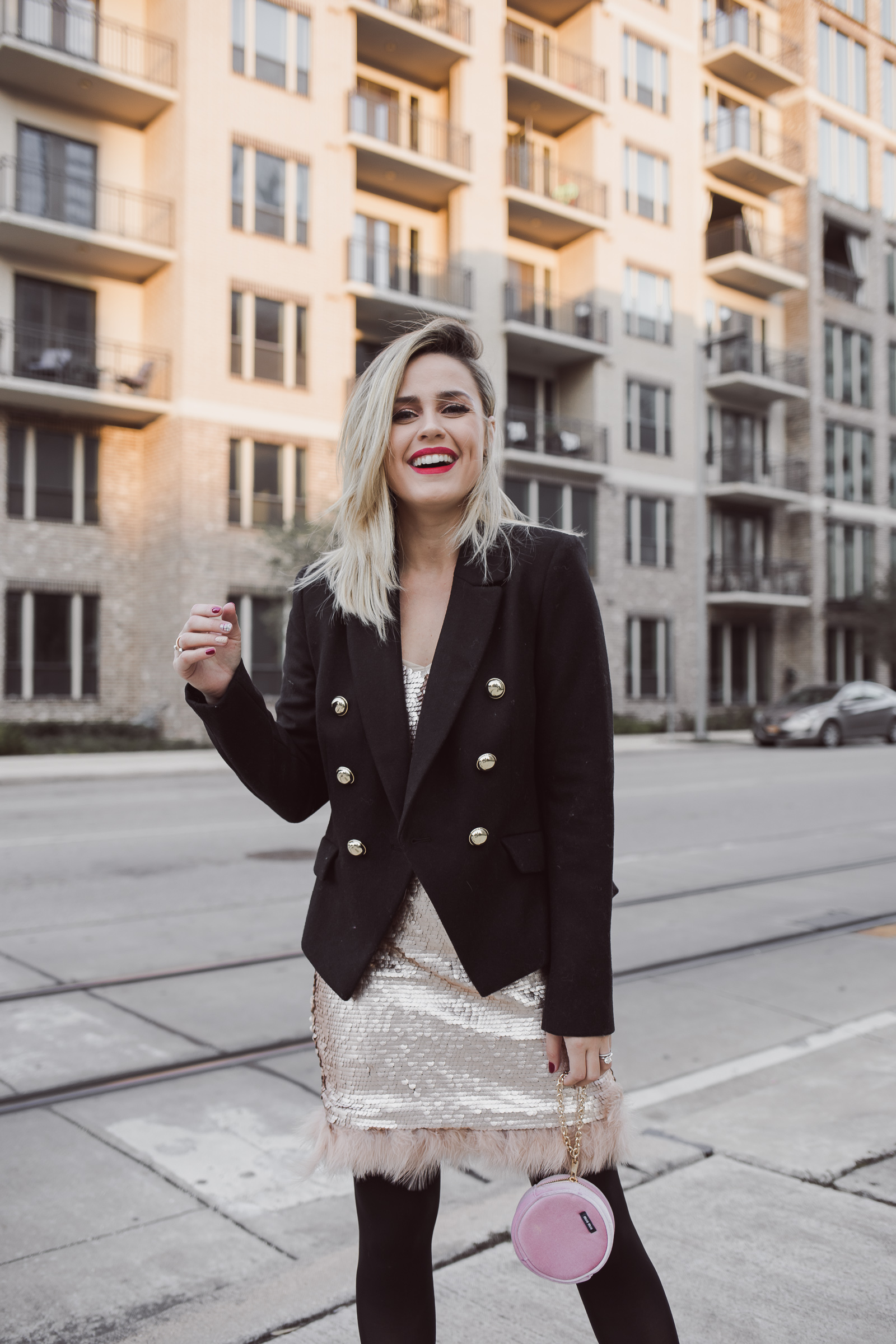 Houston Fashion blogger Uptown with Elly Brown wears a wool blazer from Nordstrom