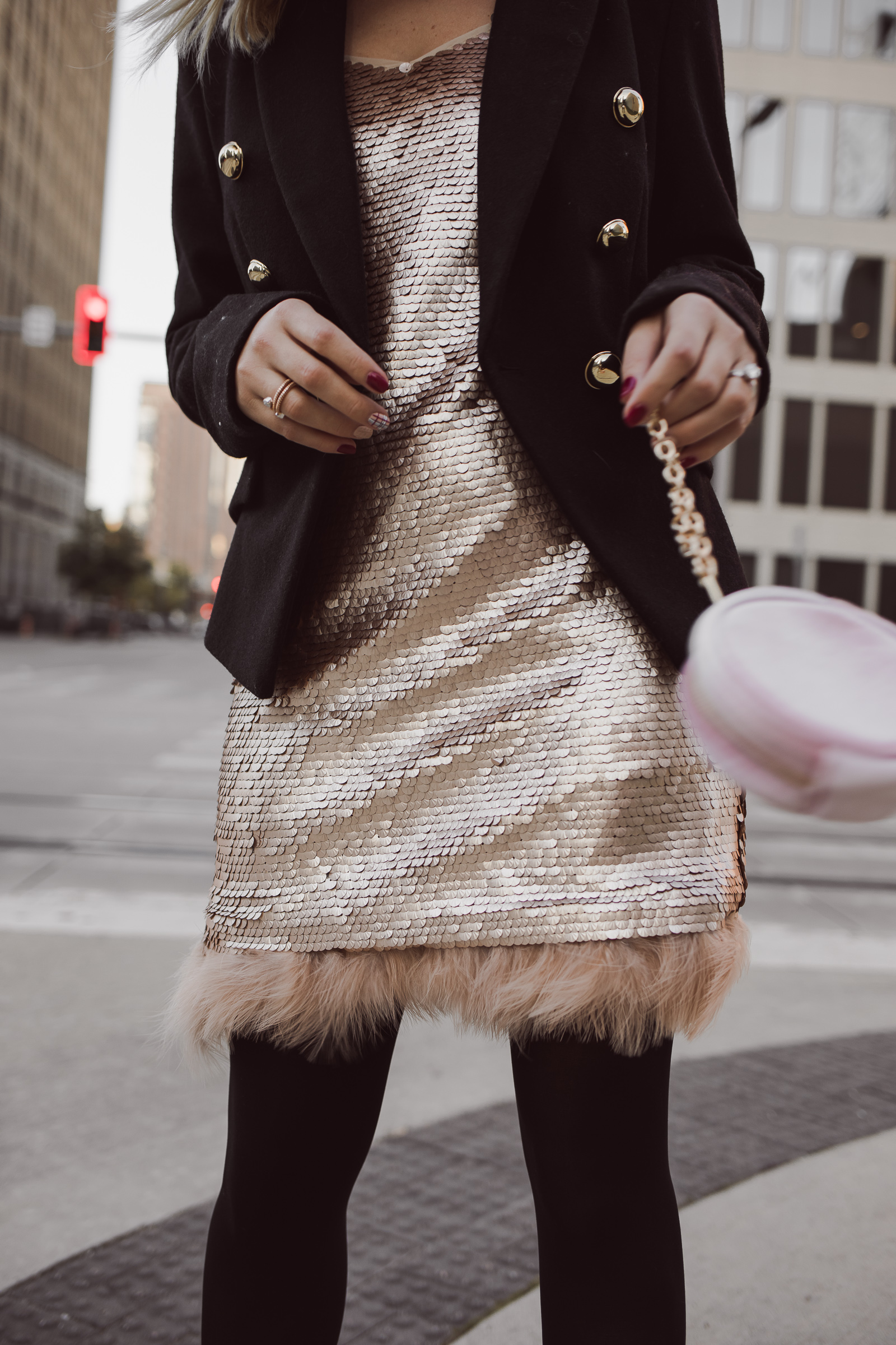 Houston Fashion blogger Uptown with Elly Brown wears a CeCe sequin dress for the holidays