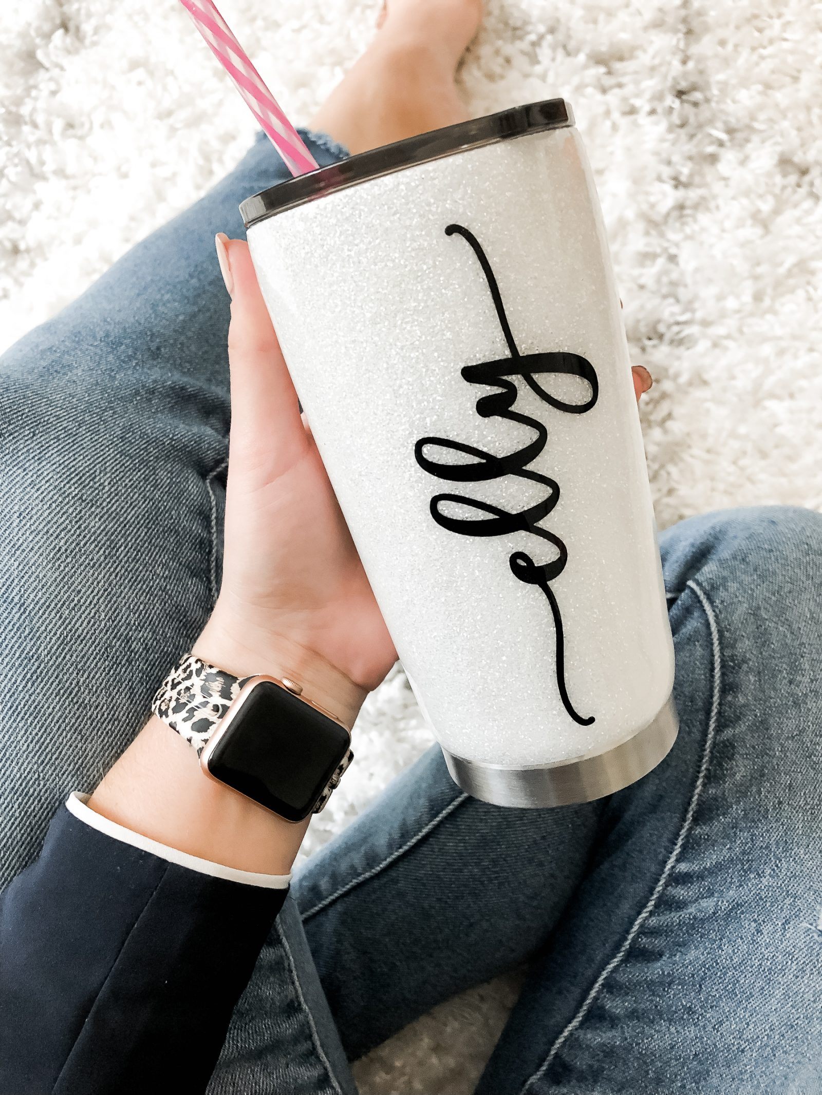 Houston Fashion blogger Uptown with Elly Brown shares her monogramed water tumblr