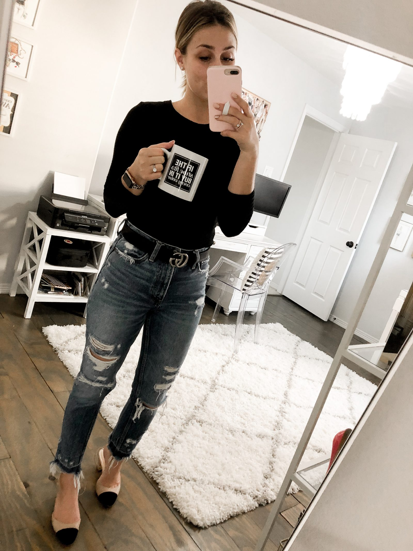 Houston Fashion blogger Uptown with Elly Brown wears mom jeans with Chanel inspired shoes